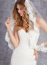 Wonderful Tulle Wedding Veil With Beaded Lace Appliques