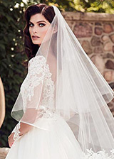Modest Tulle Wedding Veil With Lace Appliques