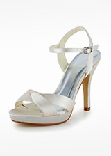 Chic Satin Upper Open Toe Stiletto Heels Bridal Shoes