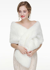 In Stock Simple Faux Fur Wedding Shawl
