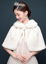 In Stock Exquisite Faux Fur Wedding Shawl